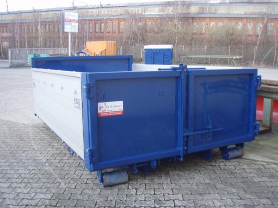 Abroll-Container-Kippaufbau mit einteiligen Aluminiumbordwänden seitlich