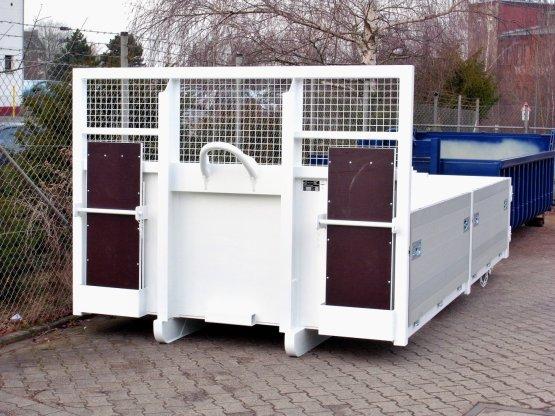 Abroll-Container-Kippaufbau mit seitlichen Aluminiumbordwänden