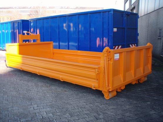 Abrollcontainer-Kippaufbau mit einteiligen seitlichen Stahlbordwänden