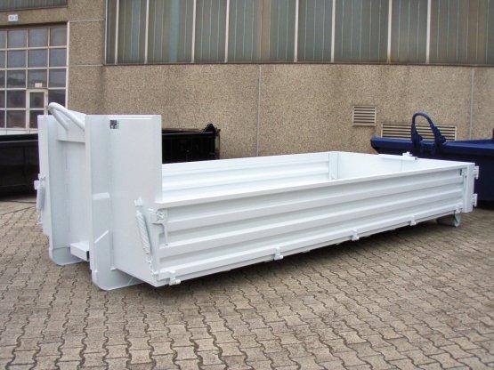Abrollcontainer-Kippaufbau mit Stahlbordwänden und Boden