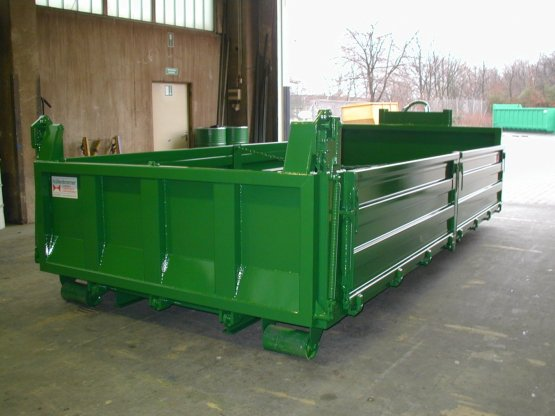 Abrollcontainer-Kippaufbau mit seitlich geteilten Stahlbordwänden