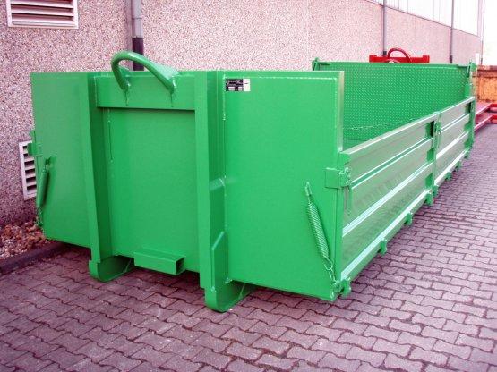 Abrollcontainer-Kippaufbau mit geteilten Stahlbordwänden