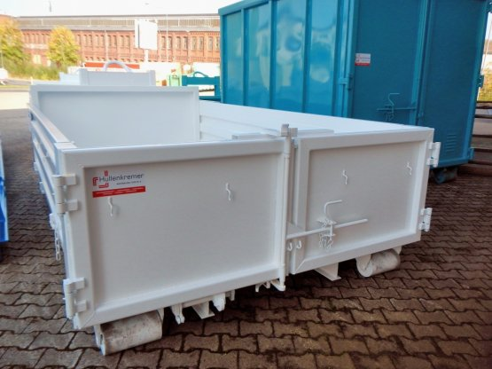 Abrollcontainer-Kippaufbau mit Stahlbordwänden