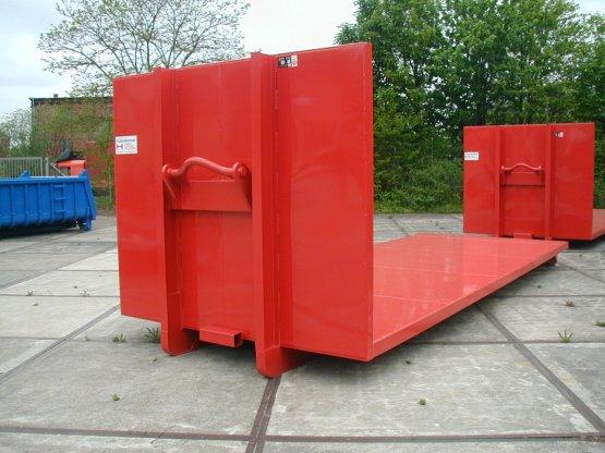 Abroll-Container-Plattform mit hoher Stirnwand