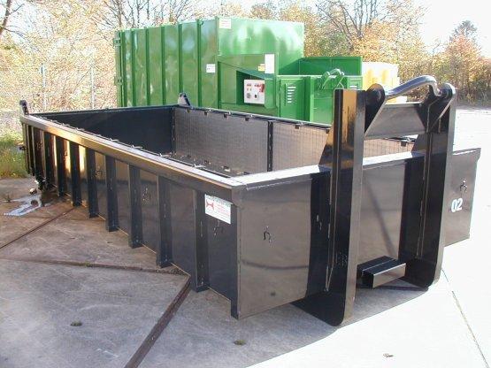 Entwässerungs-Abrollcontainer mit Edelstahl-Spaltsieben