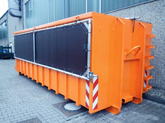Abrollcontainer mit 2-teiliger Klappnetzabdeckung
