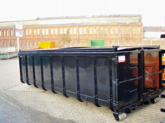 Abrollcontainer mit 2-teiligem Schiebedach