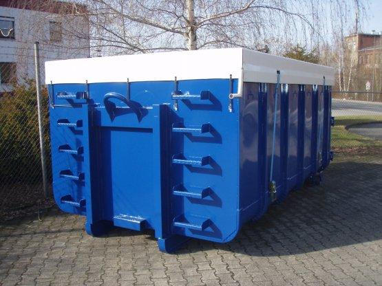 Abrollcontainer mit Längsplanenabdeckung