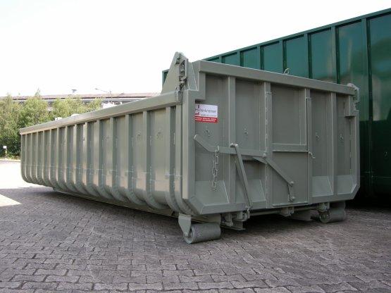 Offener Abroll-Container, Inhalt ca. 13 m³, pendel- und abklappbare Entleerungsklappe mit eingebautem Dosierschieber