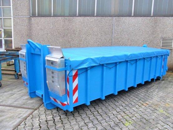 Offener Abroll-Container, Inhalt ca. 11,5 m³, mit Rollplanen-Abdeckung und Alu-Auffahrrampen