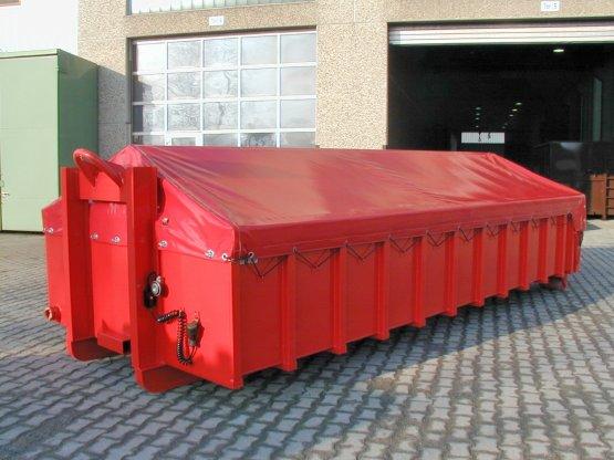 Feuerwehr-Abroll-Schlauchcontainer mit Planenabdeckung
