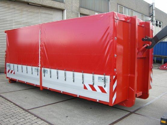 Feuerwehr-Abroll-Containeraufbau mit Alu-Bordwänden, Plan- und Spriegelaufbau,, überfahrbare Heckklappe