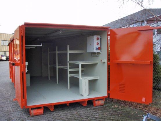 Magazin-Abrollcontainer mit Innenausbau und Elektrik, Inhalt ca. 28 m³