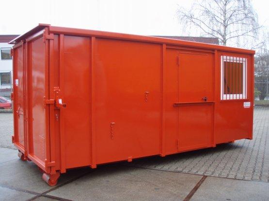 Magazin-Abrollcontainer mit Innenausbau, Trennwand, Seitentür und Fenster, Inhalt ca. 28 m³