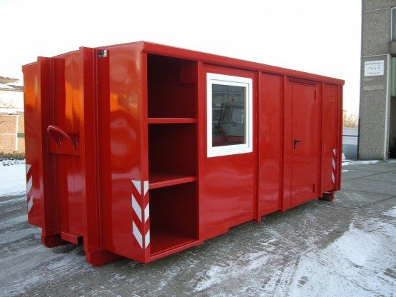 Feuerwehr Magazin-Abrollcontainer mit Seitentür, seitlichen Fenstern und seitlichen Einbaukästen, Inhalt ca. 28 m³