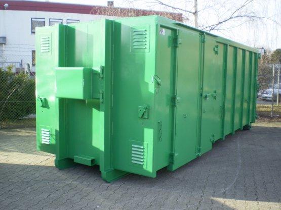 Magazin-Abrollcontainer mit Innenausbau, Seitentüren und spezieller Sicherung der Hakenaufnahme