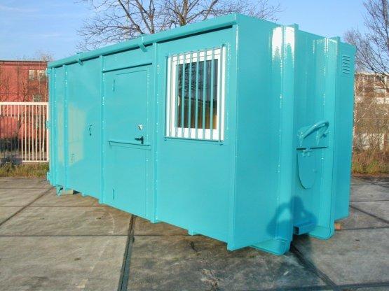 Magazin-Abrollcontainer mit Trennwand, Seitentür und Fenster, Inhalt ca. 30 m³