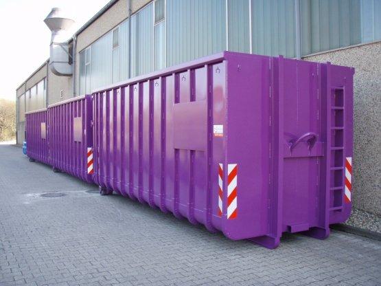 Offene Großcontainer mit Doppelflügeltür, beidseitiges Beschriftungsblech