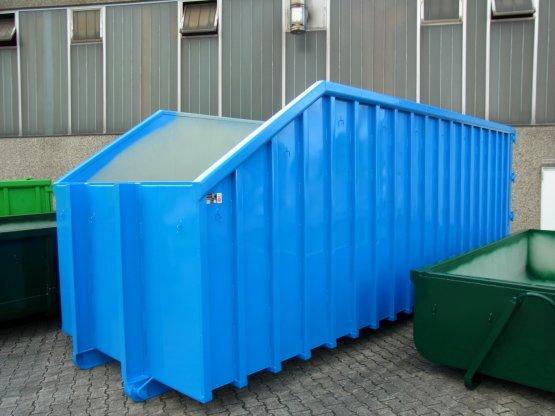 Offener Großcontainer mit Kranschräge und Doppelflügeltür