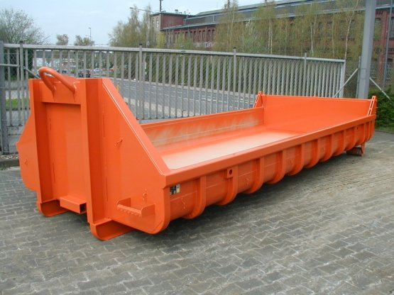 Offener Abrollcontainer mit Entleerungsklappe, Inhalt ca. 6,5 m³