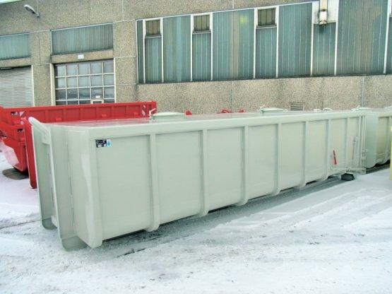 Geschlossener Staub-Abrollcontainer mit festem Dach, Inhalt ca. 17,2 m³